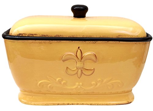 Tuscany Fleur De Lis Bread Box / Toast Jar Color: Yellow