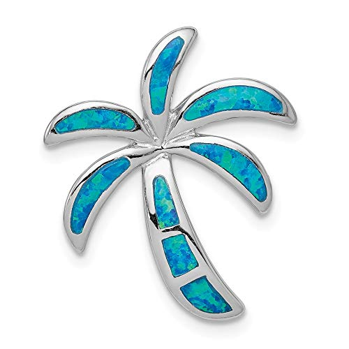 Solid 925 Sterling Silver Created Blue Simulated Opal Palm Tree Slide Pendant