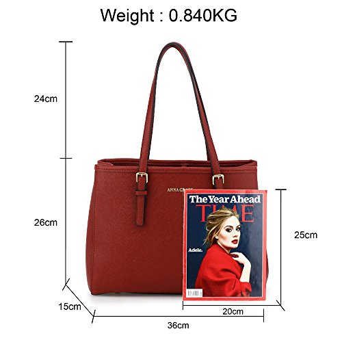 Faux Shoulder Ladies New Womens Burgundy Bag Leather Tote Handbag wqtwxaFI