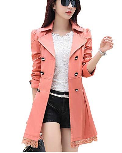 Manteaux Trench Veste Double Revers Ceinture Rouge Orange Boutonnage Femme avec Longue Yonglan fgO4x