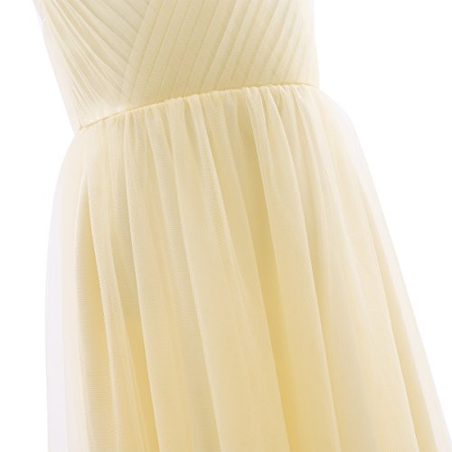 IEFiEL Girls Cross V-Neck Flower Girl Long Tulle Dress Junior Bridesmaid Pageant Gown Champagne 14