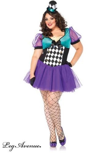 Leg Avenue Women's Plus-Size Miss Mad Hatter Costume, Black/Purple, -