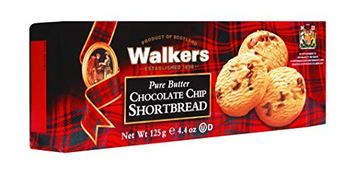 Walkers Shortbread Chocolate Chip, Traditional Pure Butter Shortbread Cookies with Chocolate Chips, 4.4 Ounce (Pack of 4)