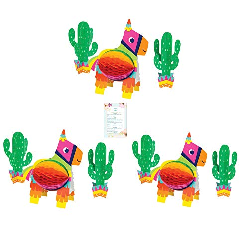 Fiesta Centerpieces - Three 3-Piece Fiesta Pinanta and Cacti