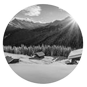 alfombrilla de ratón Bergsonne en la cabaña de esquí en negro - ronda - 20cm
