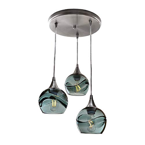 (Bicycle Glass Swell 3 Pendant Cascade Chandelier - Form. No. 763)
