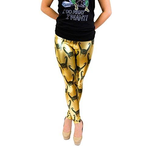 Loki All Over Helmet Print Gold Foil Juniors Leggings (Medium)