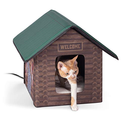 K&H Pet Products Outdoor Kitty House Cat Shelter, Log Cabin Design, Heated 20W