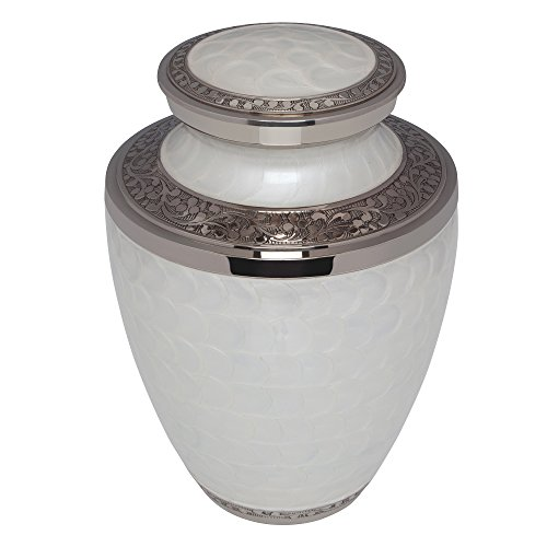 White Funeral Urn by Liliane Memorials - Cremation Urn for Human Ashes - Hand Made in Brass - Suitable for Cemetery Burial or Niche- Large Size fits remains of Adults up to 200 lbs- Petals White Model by Liliane Memorials (Image #2)