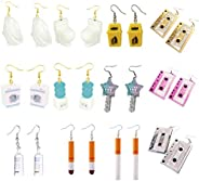 12 Pairs of Cute Earrings Quirky Earrings Funny Lucky Key Earrings Tape Earrings Bathroom Accessories Pendant