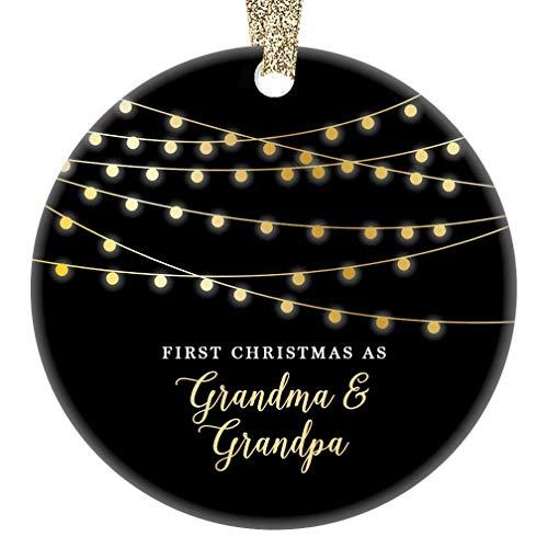 - First Christmas Grandma & Grandpa Ornament 1st Holiday New Grandparents Ceramic Keepsake Present Baby Pregnancy Announcement Newborn Grandchild 3