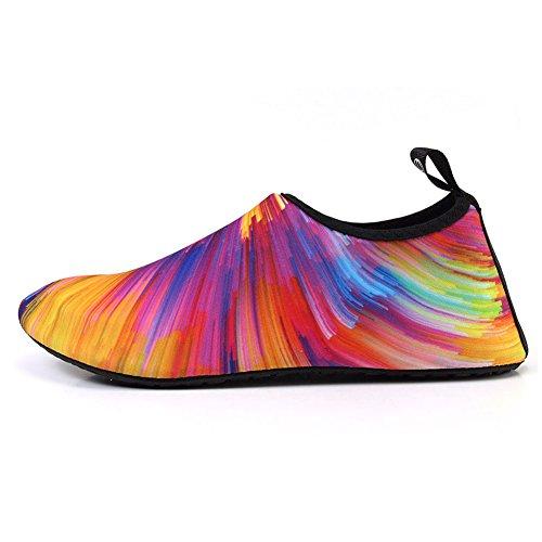 FCKEE Wasserschuhe Aqua Schuhe Aqua Socken Slip-On Barefoot Leichte Quick-Dry Dauerhafte Sohle Urlaub Mutifuntional für Beach Pool Surfen Yoga Frauen Männer Bl.farben