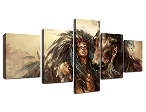 (Ancient Native American Indian Chief Wall Art Vintage Historic Painting Mystic Pictures Print On Canvas for Home Decor Framed for Living Room Giclee Framed Hooks Stretched Ready to)