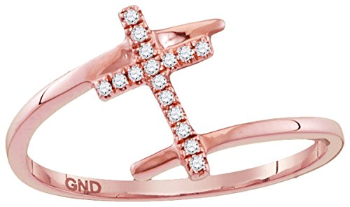 10kt Rose Gold Womens Round Diamond Bisected Cross Faith Ring 1/12 Cttw by JawaFashion
