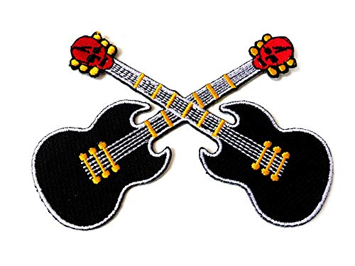 Tyga_Thai Brand Black Guitar Cross Skull Rock n Roll Logo DIY Jacket T-Shirt Sew Iron on Embroidered Applique Badge Sign Patch Clothing etc. (Iron-Guitar-Cross-BK)