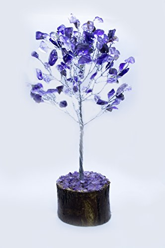 Crocon Natural Gemstone Bonsai Money Tree for Good Luck, Wealth Health & Prosperity Spiritual Gift Crystal Energy Feng Shui Home Table Decor Size 7-8 inch (Amethyst (Silver - Silver Tree Table