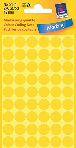 Avery Zweckform 3144 Markierungspunkte (Etiketten, Ø 12 mm, 270 Stück) gelb