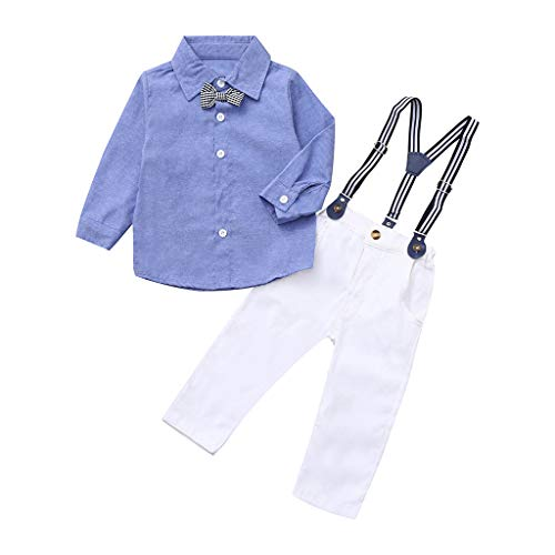 Dsood Kids Baby Boys Gentleman Wedding Outfits Vest Set,Infant Baby Boys Gentleman Bow Tie Romper+Shorts Overalls Outfits Clothes,Baby Boys' One-Piece Rompers,Blue,4-5T