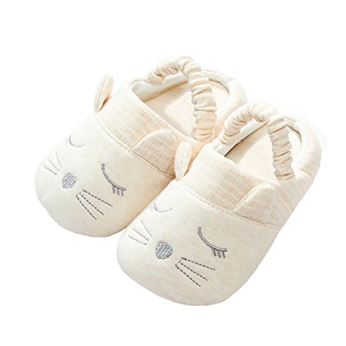 JILIGUALA Unisex Baby Boys Girls Cotton Rubber Cozy Sole Non-Slip Slippers Indoor Prewalker Shoes by JILIGUALA