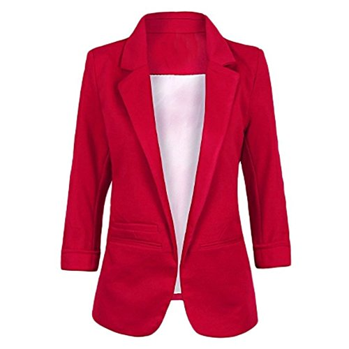 Red Blazer Jacket (Face N Face Women's Cotton Rolled Up Sleeve No-Buckle Blazer Jacket Suits X-Large Wine Red)