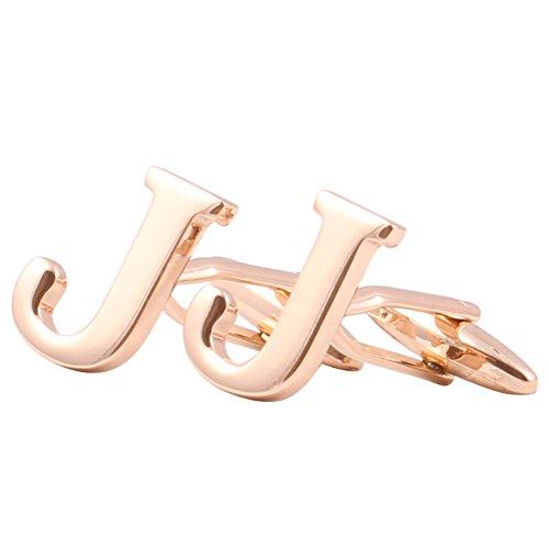 Men's Shirts Cufflinks Alphabet Letter 4 Color(A-Z) Rose Gold (Gold Rose Gold Cufflinks)