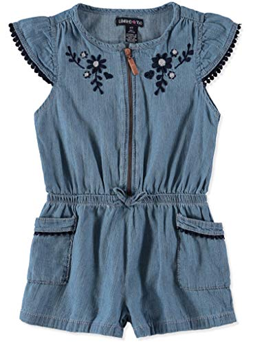 Limited Too Girls' Toddler' Romper, Flower Cross Hatch Light Blue Denim, 2T