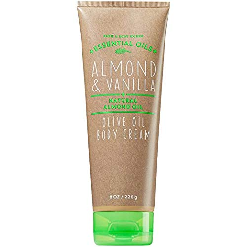 Bath and Body Works Almond Vanilla Body Cream 8 Ounce Tan and Green Tube