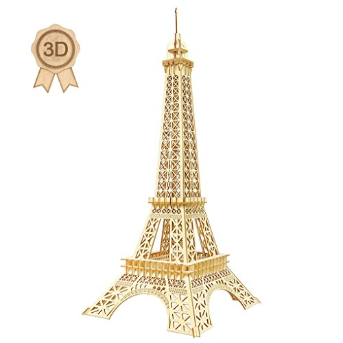 Bitopbi 3D Wooden Puzzles Laser Engraving DIY Safe Assembly Constructor Kit Toy Kids Teens Adults, World Famous Buildings Mechanical 3-D Models Self-Assembly (C1 Eiffel Tower)
