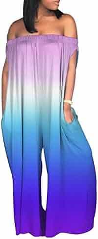 5b6d0a25908 LAJIOJIO Women Sexy Off Shoulder Sleeveless High Waist Plus Size Wide  Bodycon Jumpsuit S-XXXL