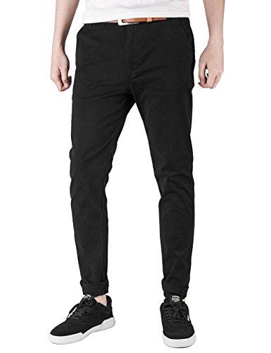 Stretch Pants Slim Cotton - Italy Morn Men Chino Pants Khaki Slim Fit Stretch Cotton Twill Fabric Trousers (M, Black)