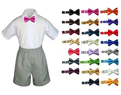 Cummerbund Lilac (MILLTEX 3PC Formal Party Wedding Color Satin Bow tie Shirt Gray Shorts Set New Born Baby Boy Toddler Sm-4T (2T, Lilac))