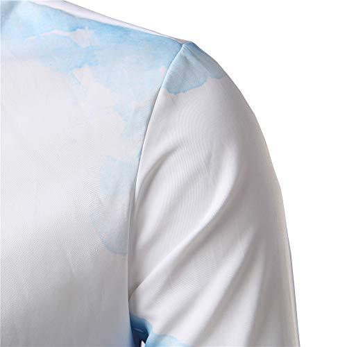 Uomo Girano Camicetta giù Kobay Manicotto Casuale Tops Lunga Del Sottile Camicie Stampato Blu 8dpgOxq