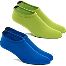 FUN TOES -2 PAIRS Water Skin shoes Aqua Socks for Water Sports Beach Pool Surf