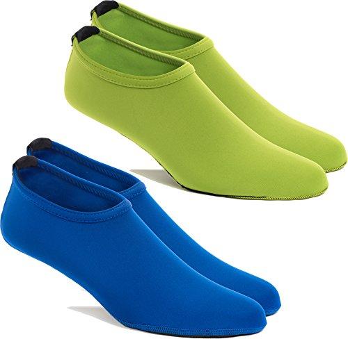 FUN TOES 2 Pairs Water Skin Shoes Aqua Socks for Water Sports Beach Pool Surf (Large Women 6.5-8, Men 5.5-7, 1 Blue- 1 Green)