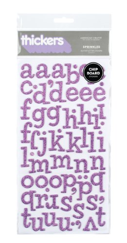 American Crafts Thickers Glitter Chipboard Letter Stickers, Sprinkles Lavender