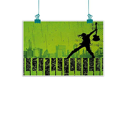 jiangni Popstar Party,Wall Artwork Music in The City Theme Singer with Electric Guitar on Grunge Backdrop W 36