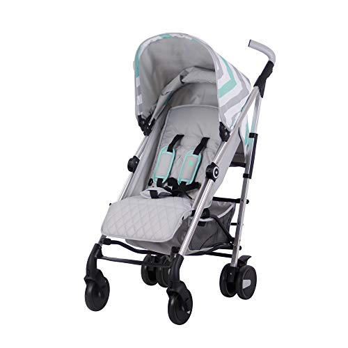 My Babiie Mint and Chevron Baby Stroller – Lightweight Baby Stroller with Carry Handle – Silver Frame and Mint Chevron Canopy – Lightweight Travel Stroller – Suitable from Birth to 33 lb