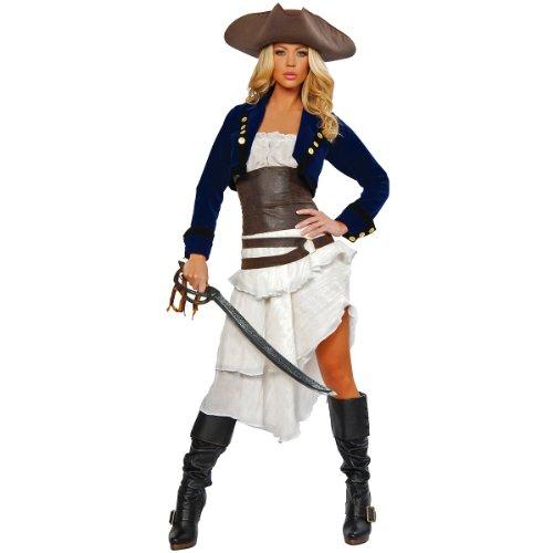 Roma Pirate Costume (Roma Costume Deluxe 6 Piece Colonial Pirate Costume, Blue/White/Brown,)