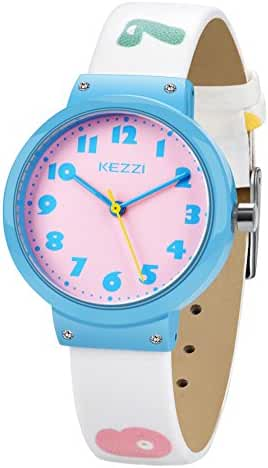 Dovoda Watch for Girls Easy Reading Times Teacher Blue Case White Leather Kids Watches