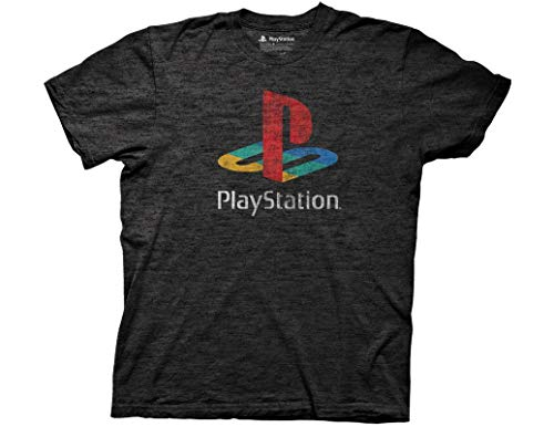 Ripple Junction Playstation Adult Big and Tall Distressed Retro Color Logo Light Weight Crew T-Shirt 2XLT Heather Charcoal