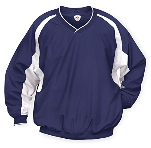 Badger Windshirt (Badger Men's Athletic Performance V-Neck Windshirt, Navy/White XX-Large)