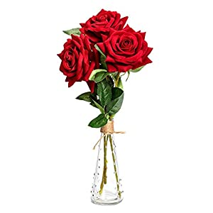 MARJON FlowersArtificial Flowers Roses with Glass Vase Fake Silk Flowers Simulation Real Touch Bouquets for Wedding Party DIY Home Office Table Decoration Garden 87