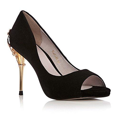 De Vestir Pelle Mujer Negro Para Moda In Zapatos qxv5tU