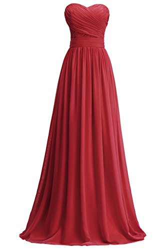 Abendkleid Blumenmkleid Partykleid Mutter KekeHouse® Weinrot Tochter Linie Brautjungkleid Maxi Plissiert A nqcw8z7ZY