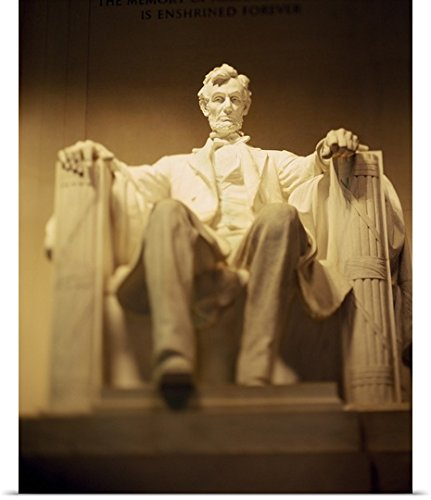 Poster Print entitled Statue of Abraham Lincoln illuminated at night, Lincoln Memorial, Washington DC - Illuminated Lincoln Memorial