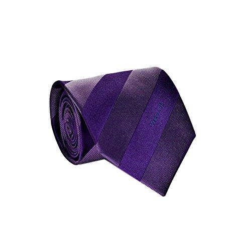 Versace Uniform Men's Striped Woven Silk Necktie Purple ()