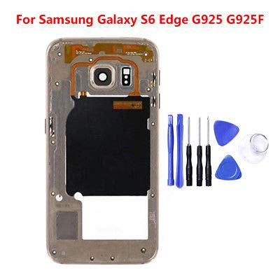 ng Galaxy S6 Edge/Plus Mid Housing Bezel Middle Frame Assembly+ Tools Gold for Samsung Galaxy S6 Edge ()