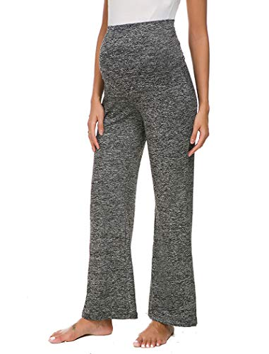 Ecavus Women's Maternity Wide/Straight Versatile Comfy Palazzo Lounge Pants Stretch Pregnancy ()