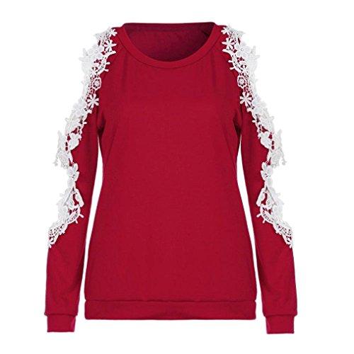 Rouge Chic S Shirts T Fleur Blouse Femme Tops Ouverte Solike paule Chemise Pullover Manches Shirt Longues 2XL Rond Col Dentelle Hgx7Hn