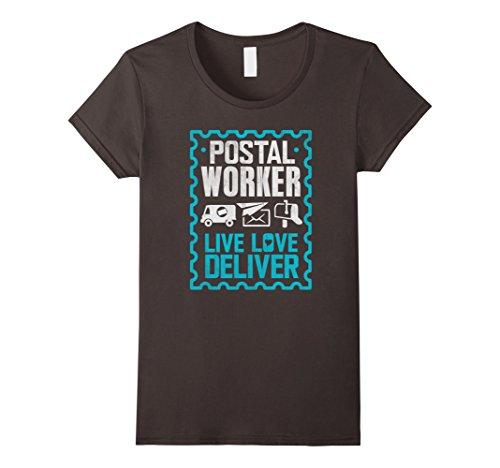 Womens Postal Worker Shirt Live Love Deliver Postman Gift T-shirt Large Asphalt (Gift Deliver)